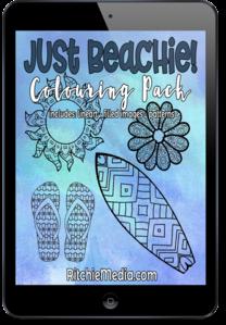 just beachie coloring book kit