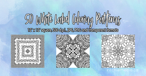 50 white label coloring patterns