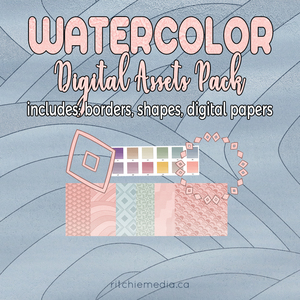 watercolor digital assets pack