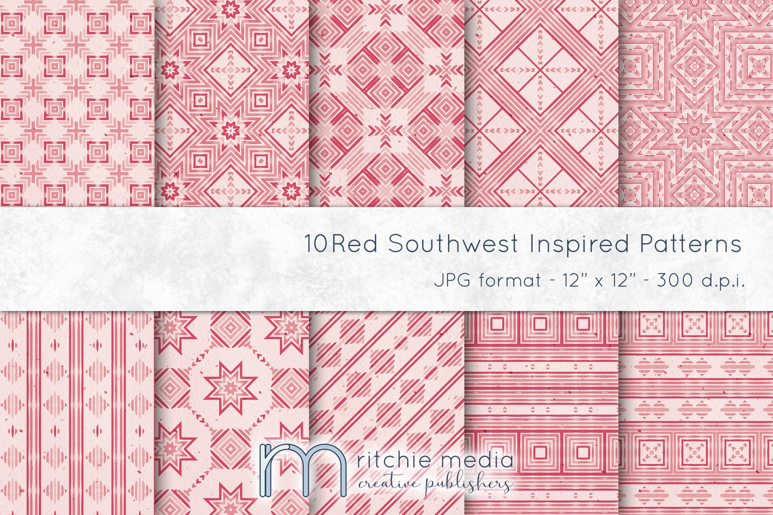 Red Southwest-Inspired Watercolor Digital Papers