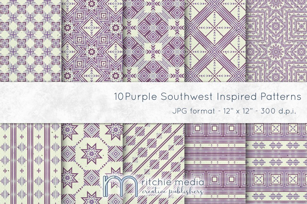 Purple Southwest Inspired Watercolor Digital Papers