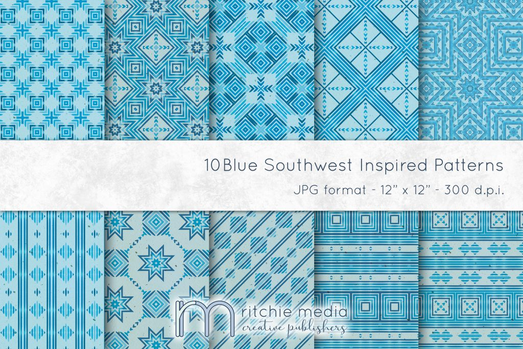 Blue Southwest-Inspired Watercolor Digital Papers