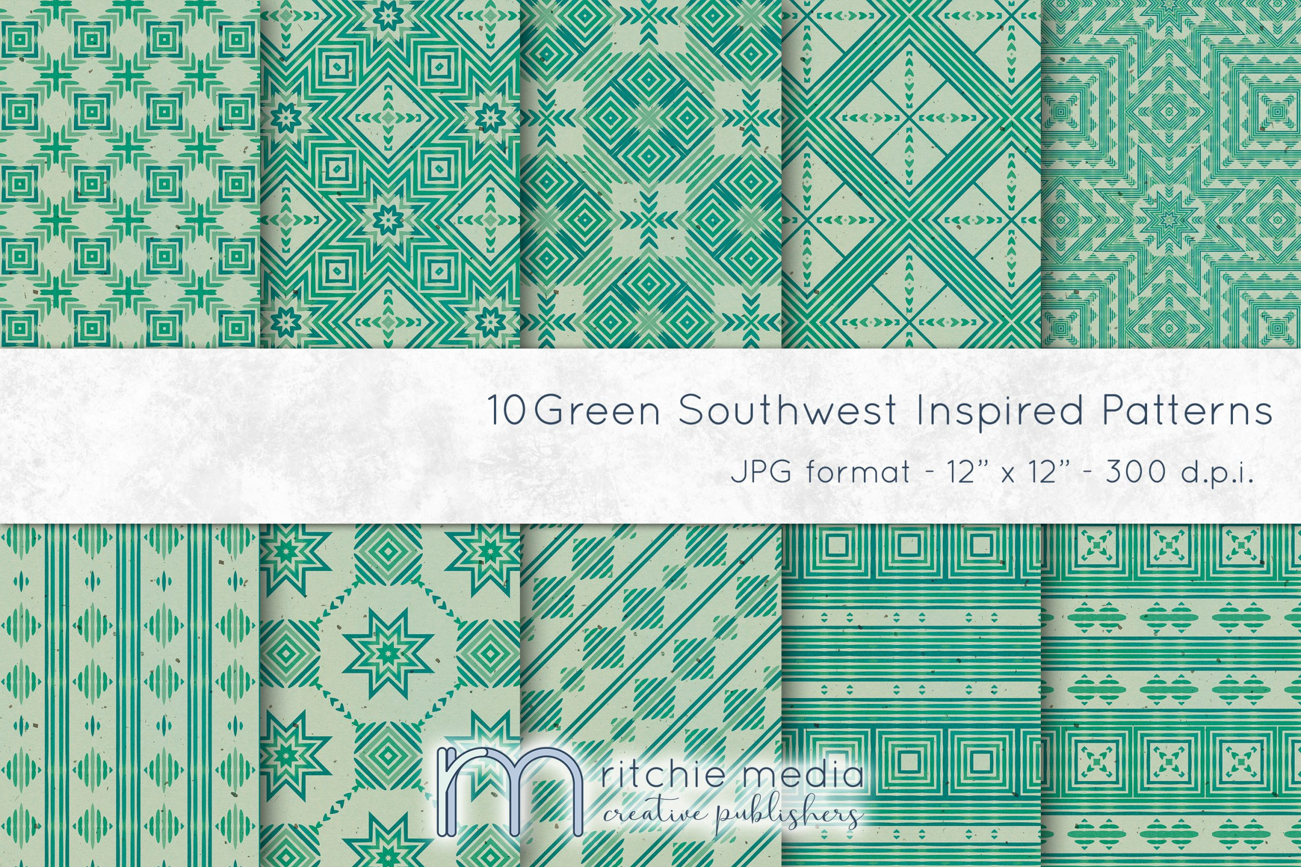 Green Southwest-Inspired Watercolor Digital Papers