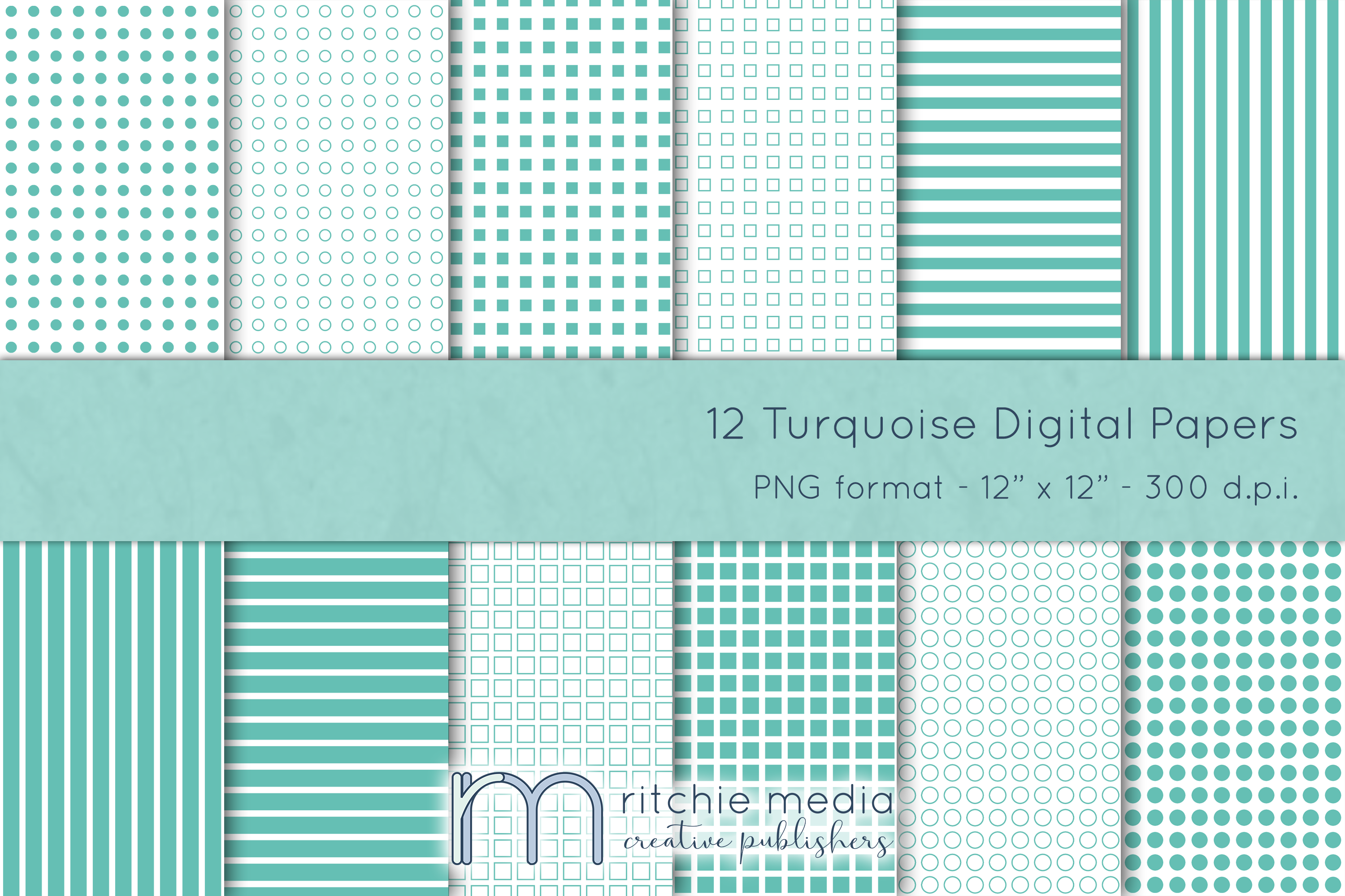 12 turquoise digital papers mockup