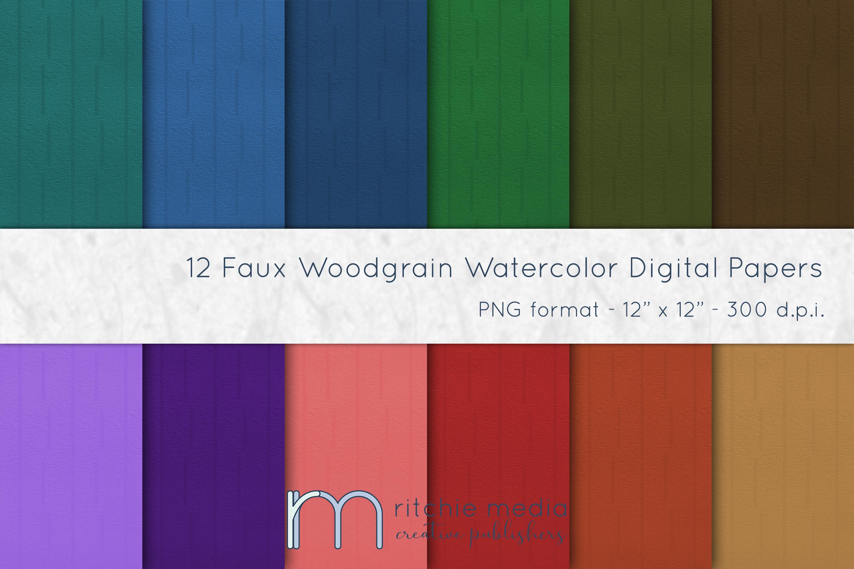 faux woodgrain watercolor digital papers