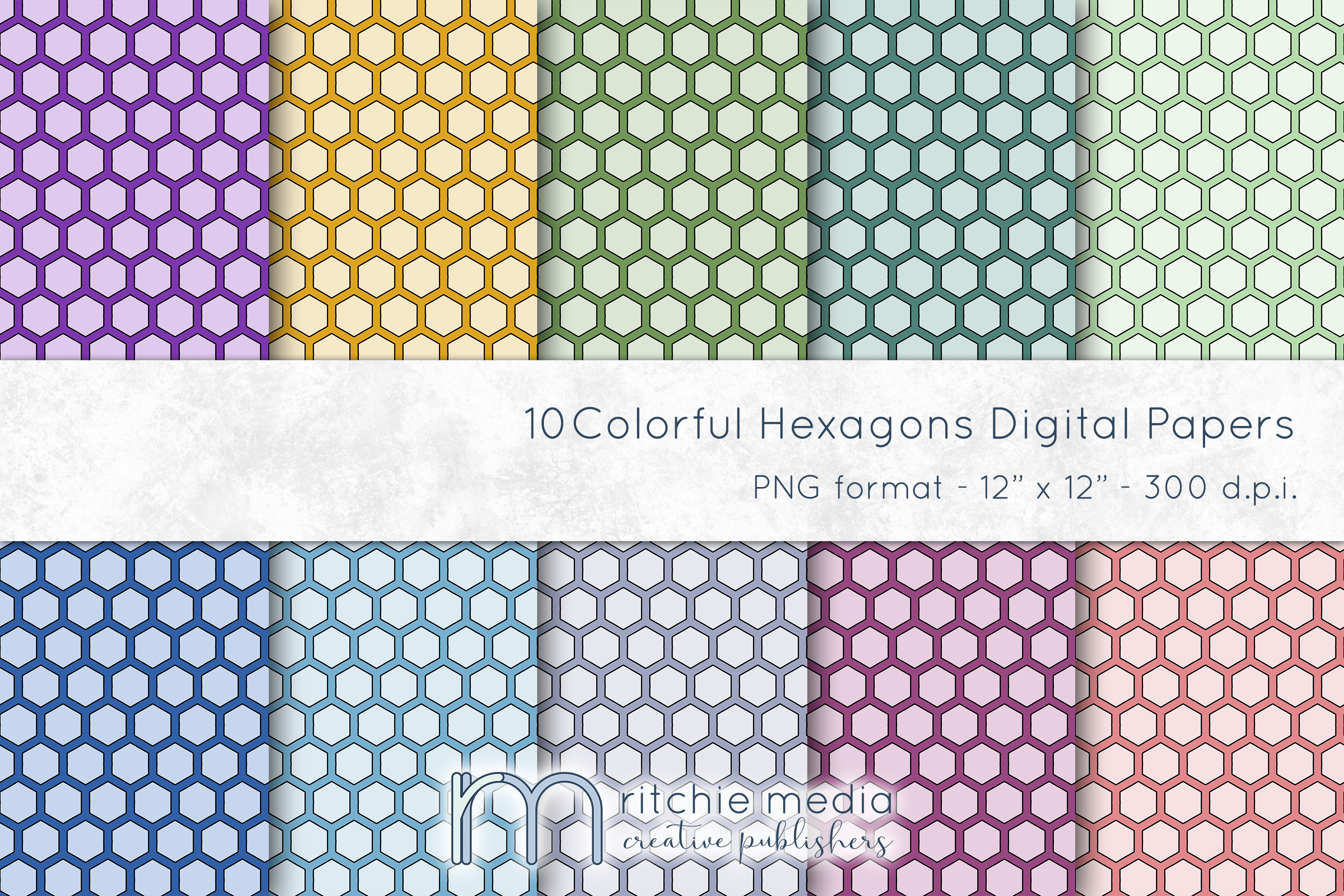 colorful hexagon digital papers