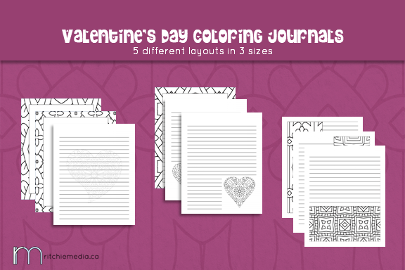 valentines day coloring journals