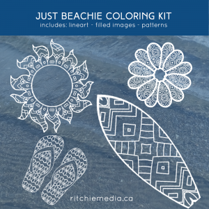 just beachie coloring kit promotion image