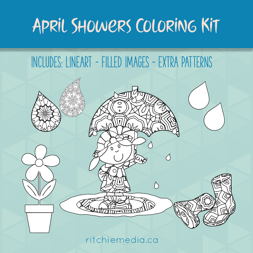 april showers coloring kit