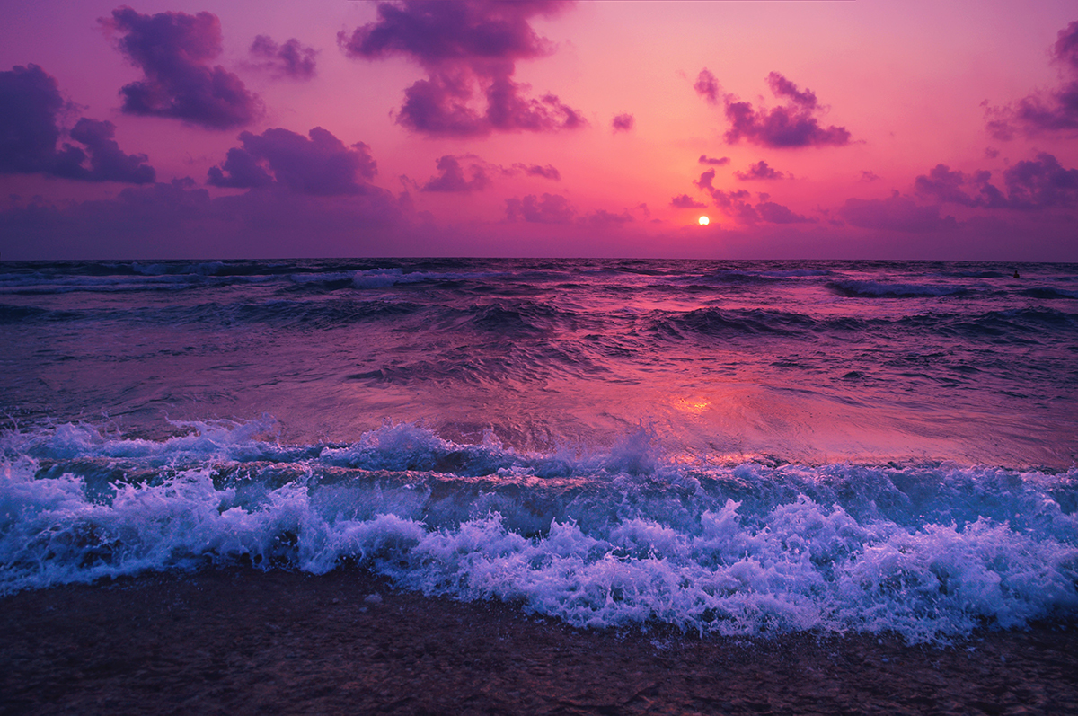 photo of sunset and waves