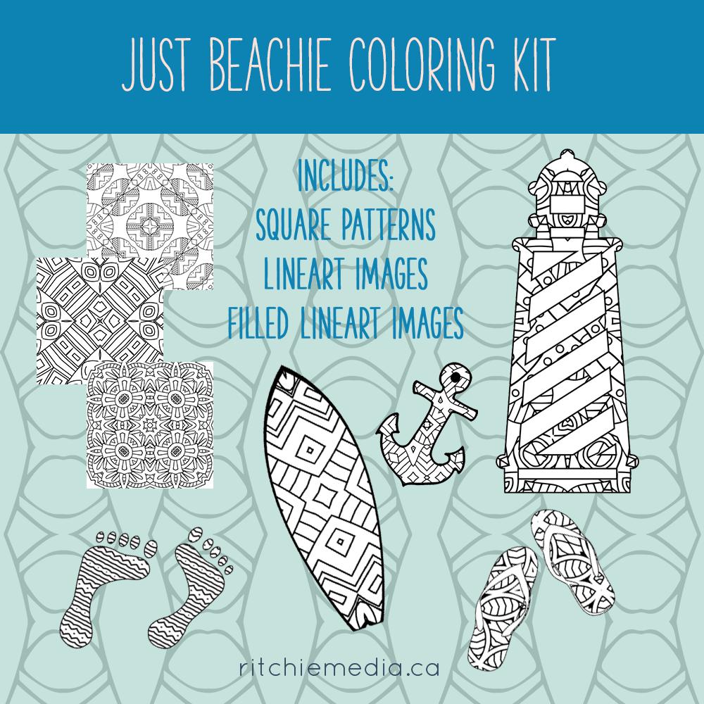 just beachie coloring kit