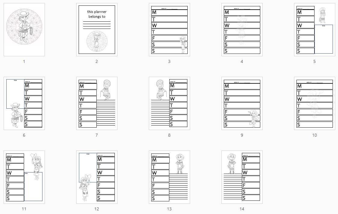 cowgirl planner preview
