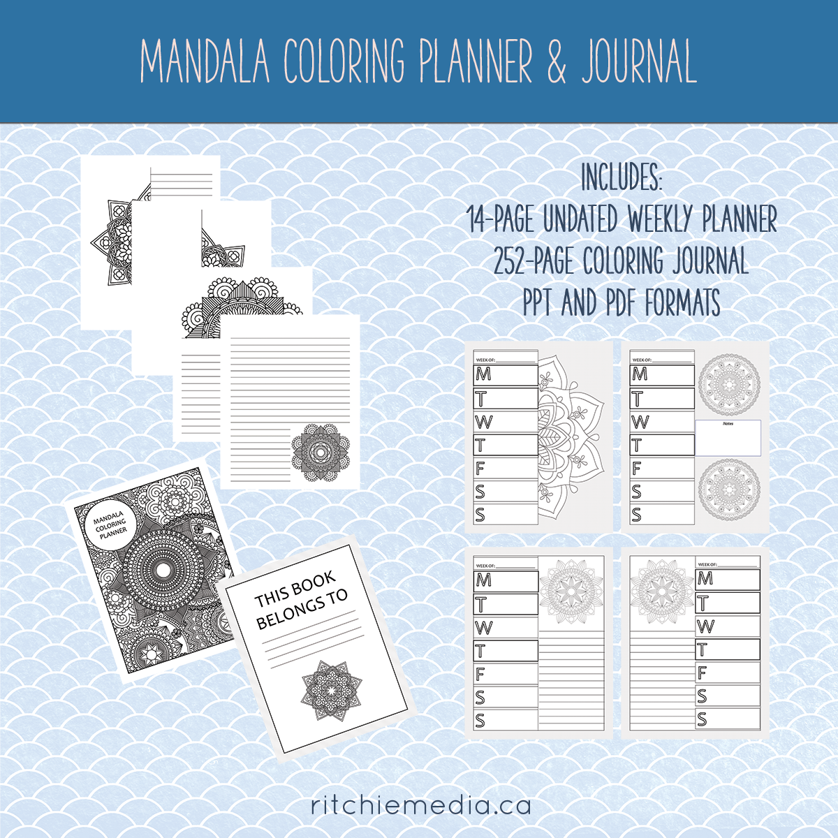 mandala coloring planner and journal promo