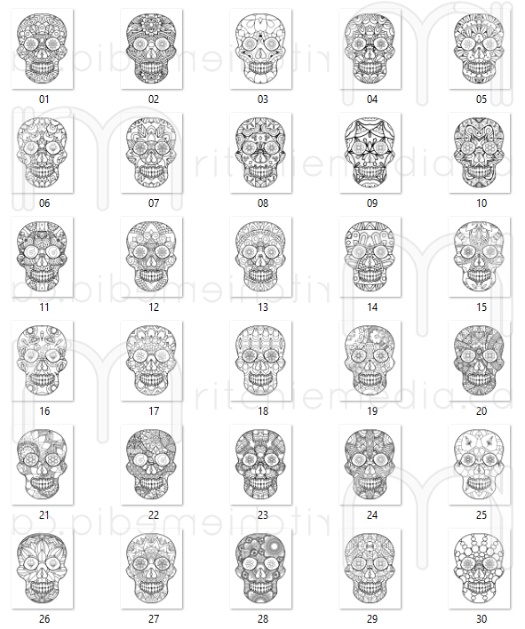 screenshot of sugar skull images