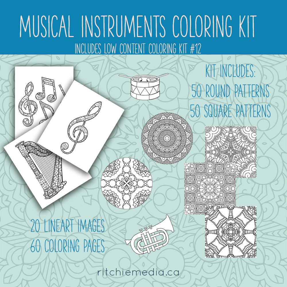 musical instruments coloring Kit
