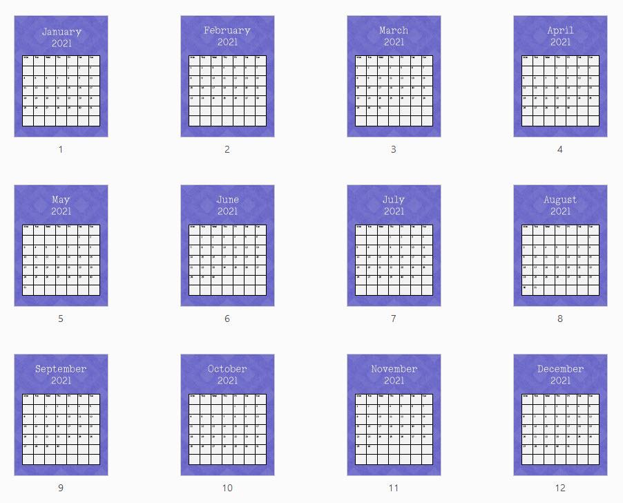 purple style 1 calendar