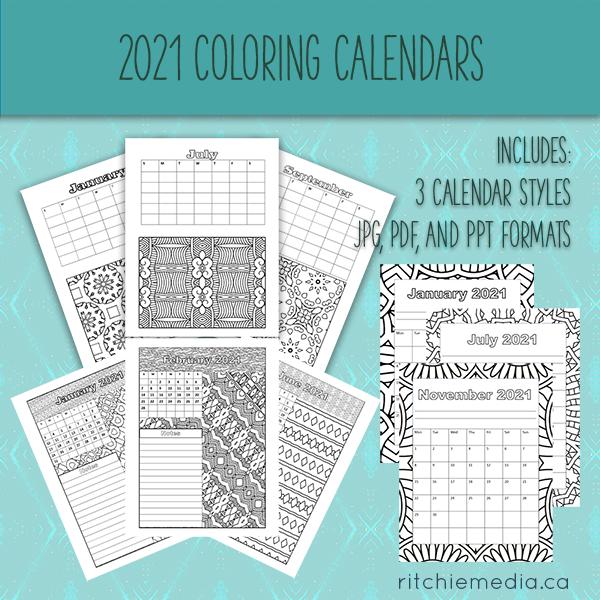 set of 3 coloring calendars