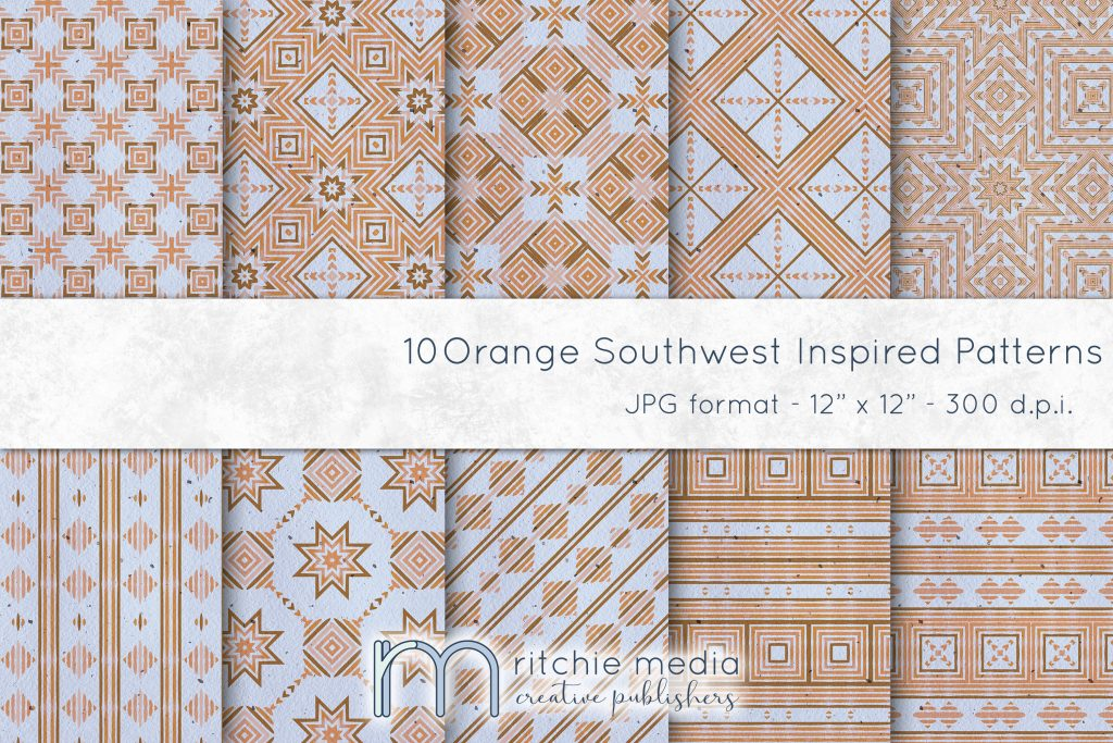 orange southwest inspired digital papers