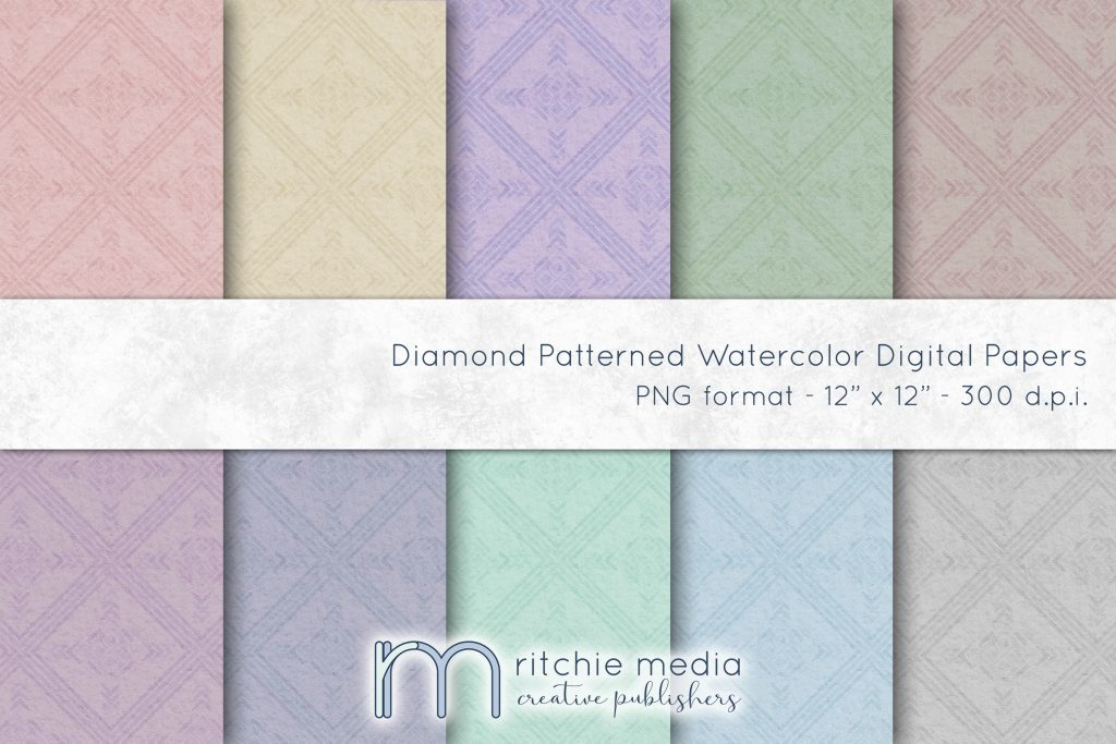 Diamond Patterned Watercolor Digital Papers
