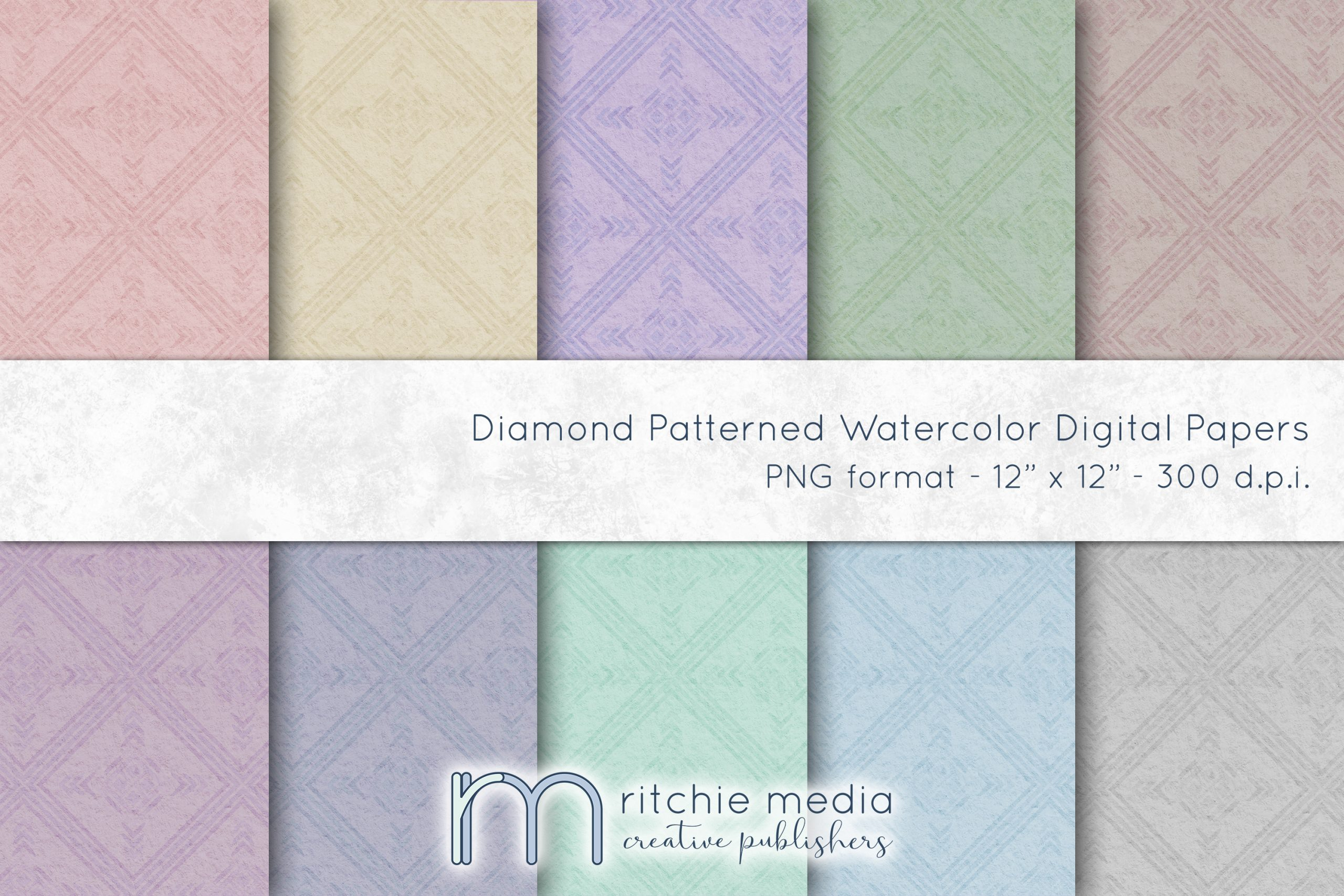 Diamond Patterned Watercolor Digital Papers