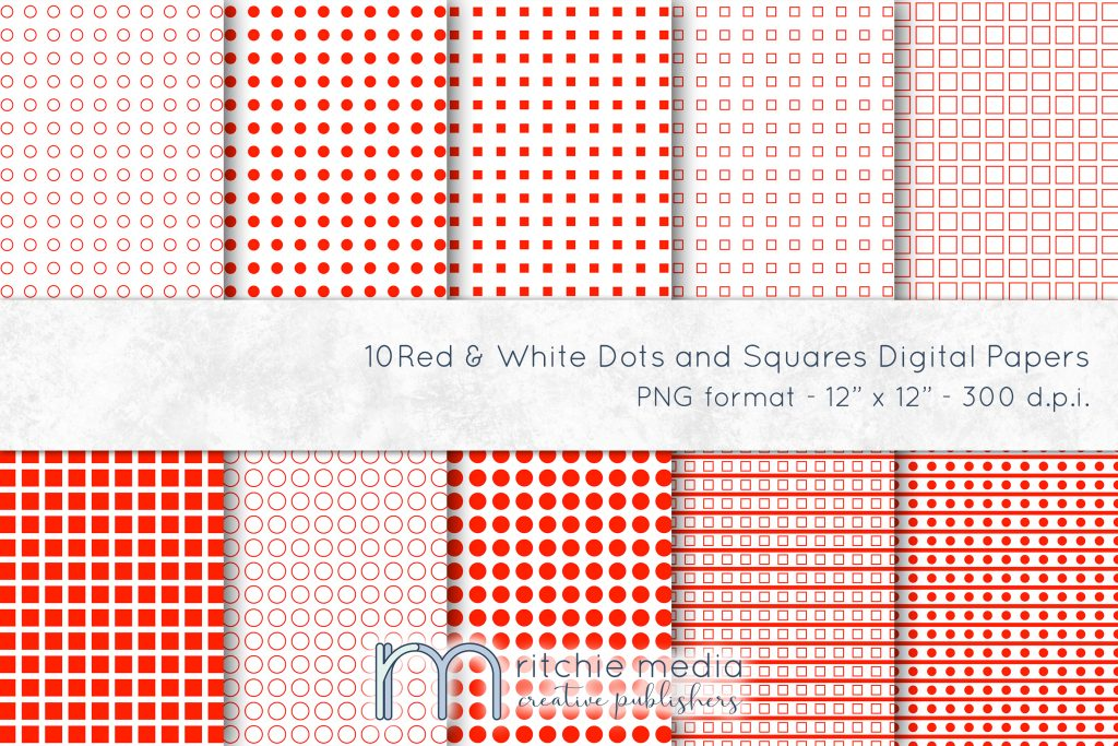 red and white dots and squares digital papers