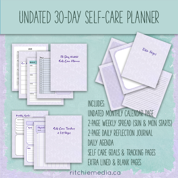 undated 30day self-care planner mockup