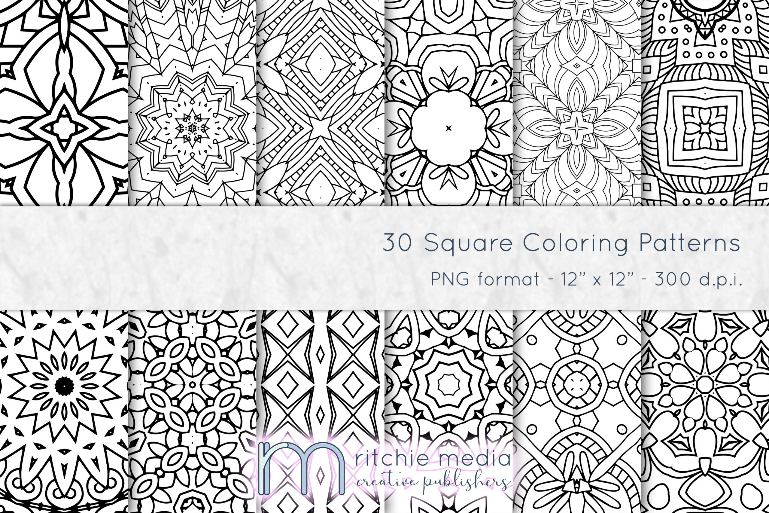 30 square coloring patterns