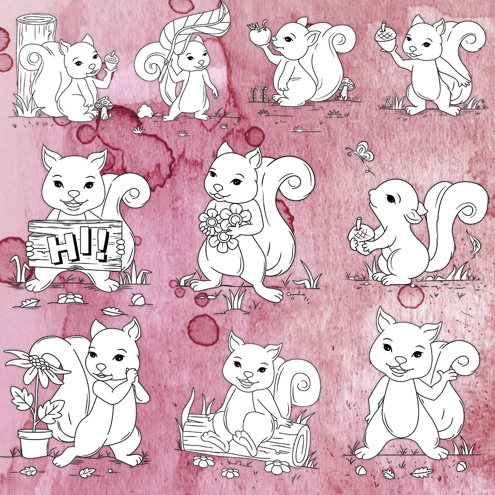 squirrel coloring images