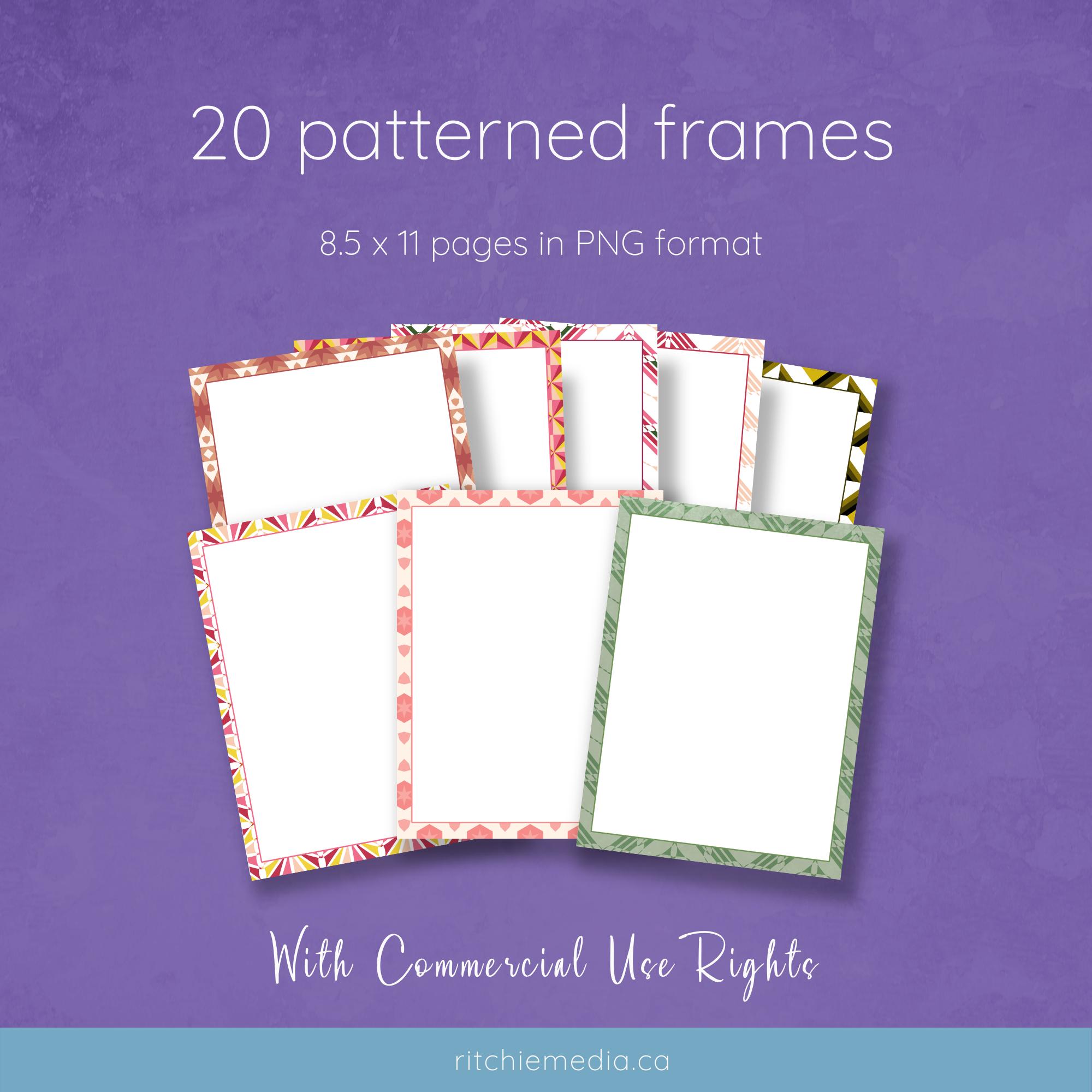 20 patterned frames mockup