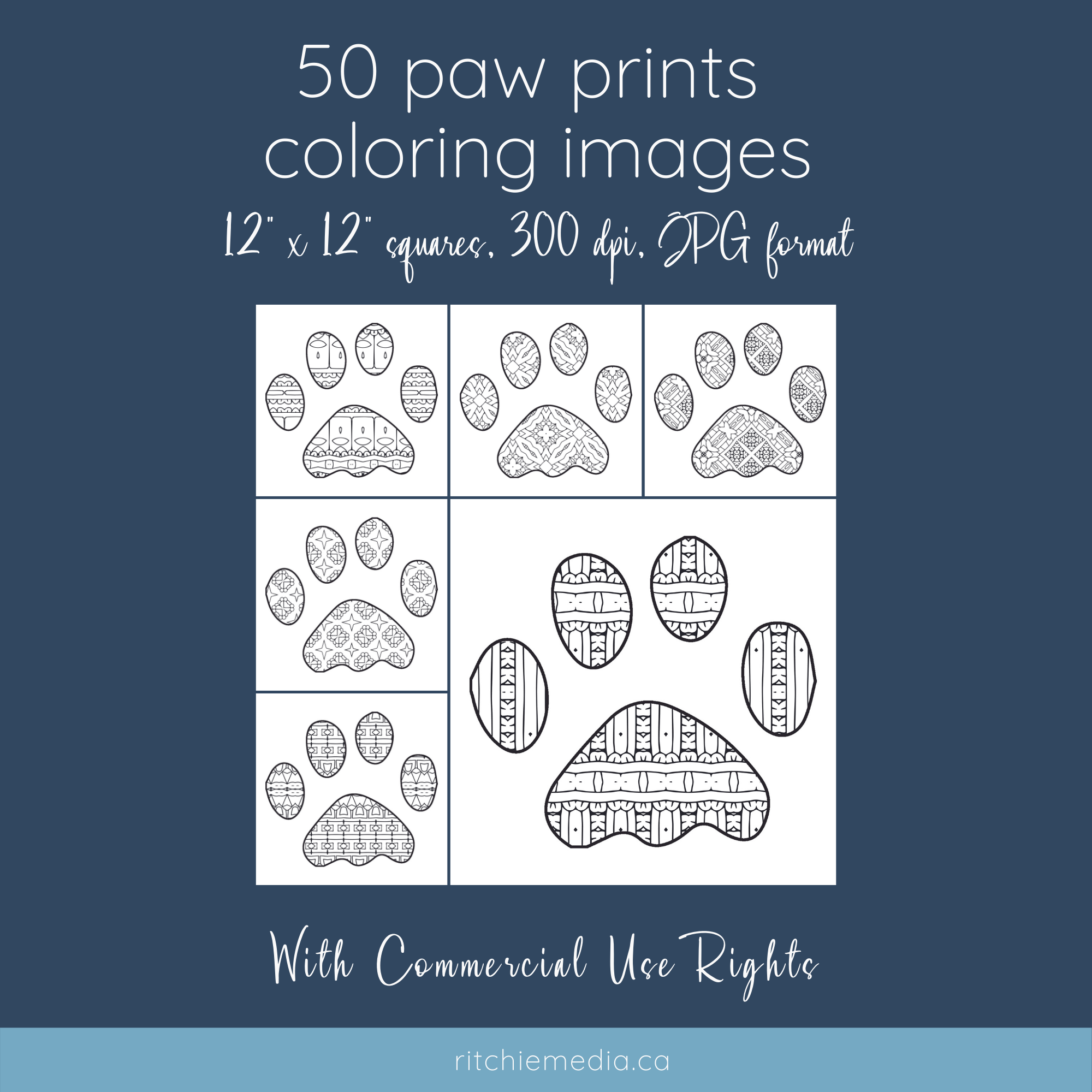50 Paw Prints Coloring Images Mockup