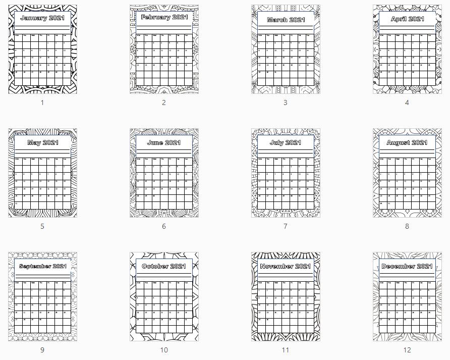 preview single month calendar