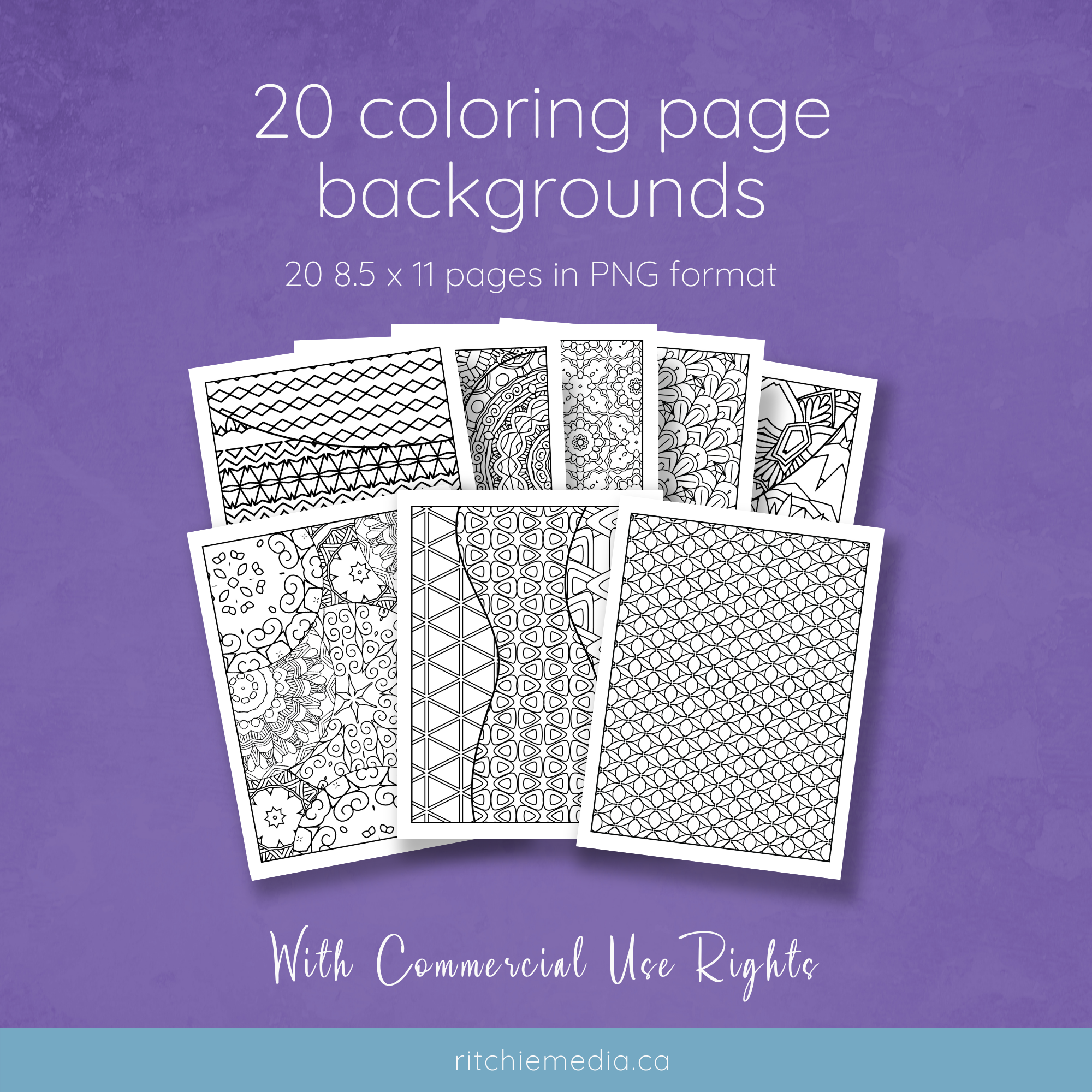 20 coloring page backgrounds mockup