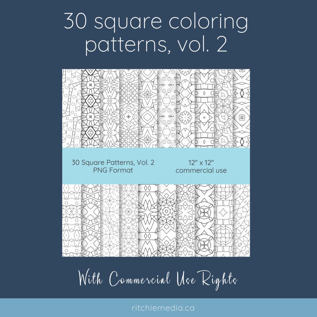 30 square coloring patterns volume 2