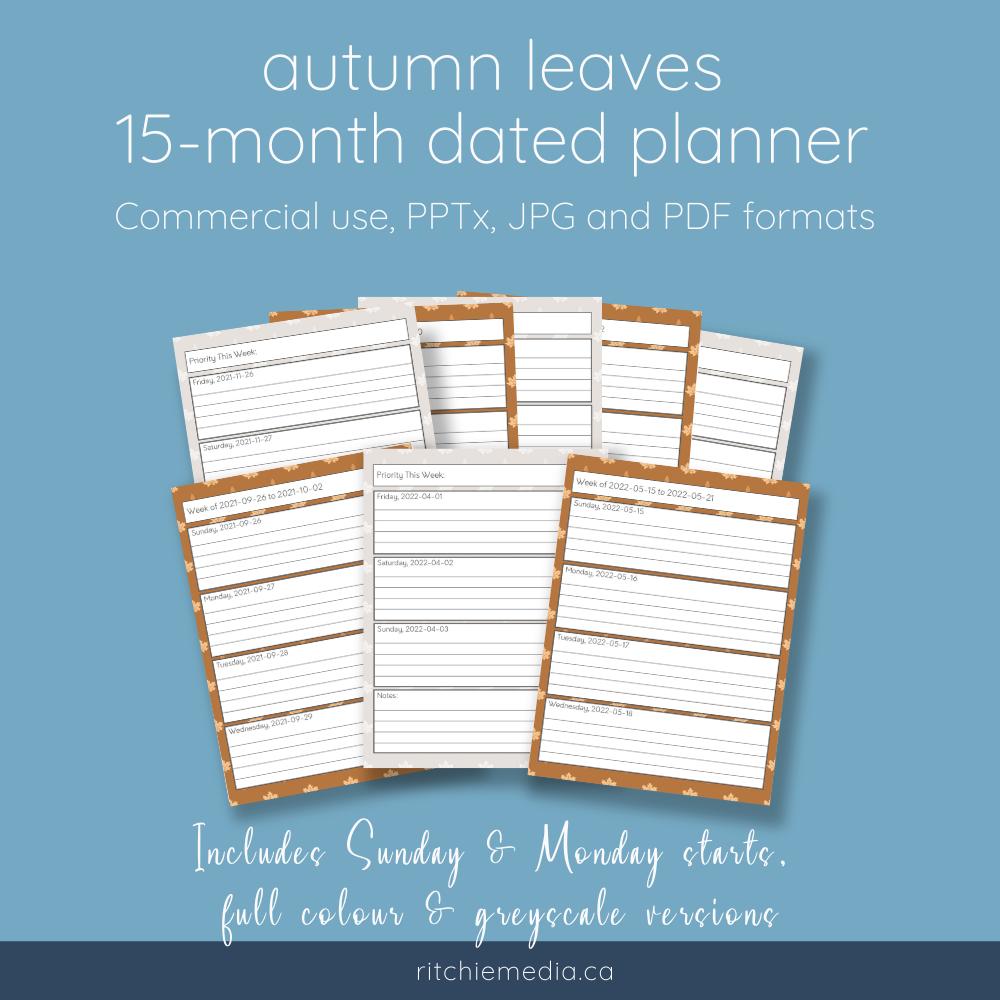 autumn leaves planner mockup