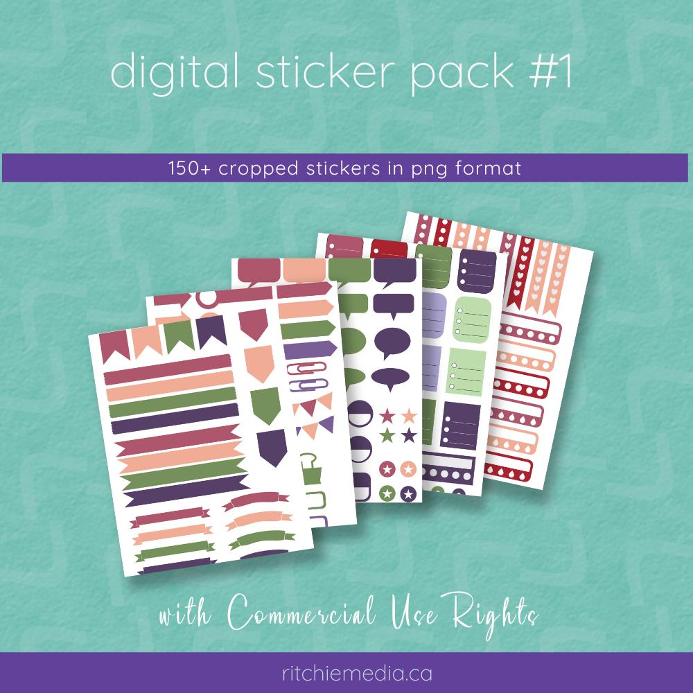digital sticker pack #1 mockup
