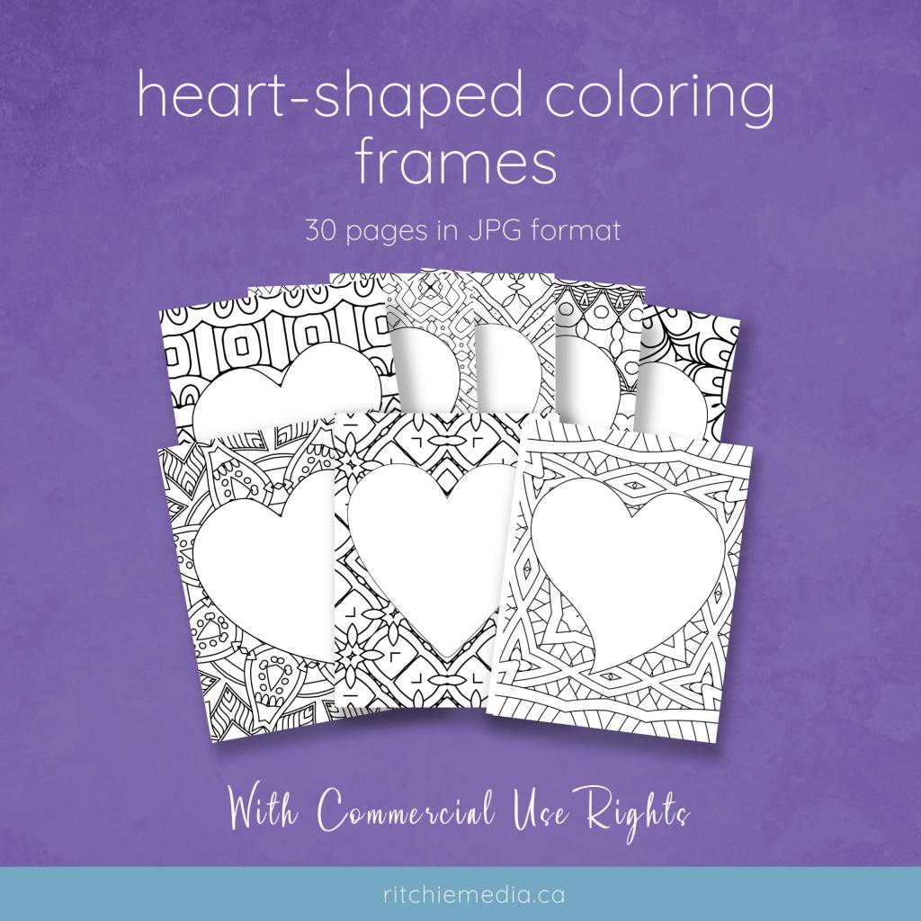 heart shaped coloring frames mockup