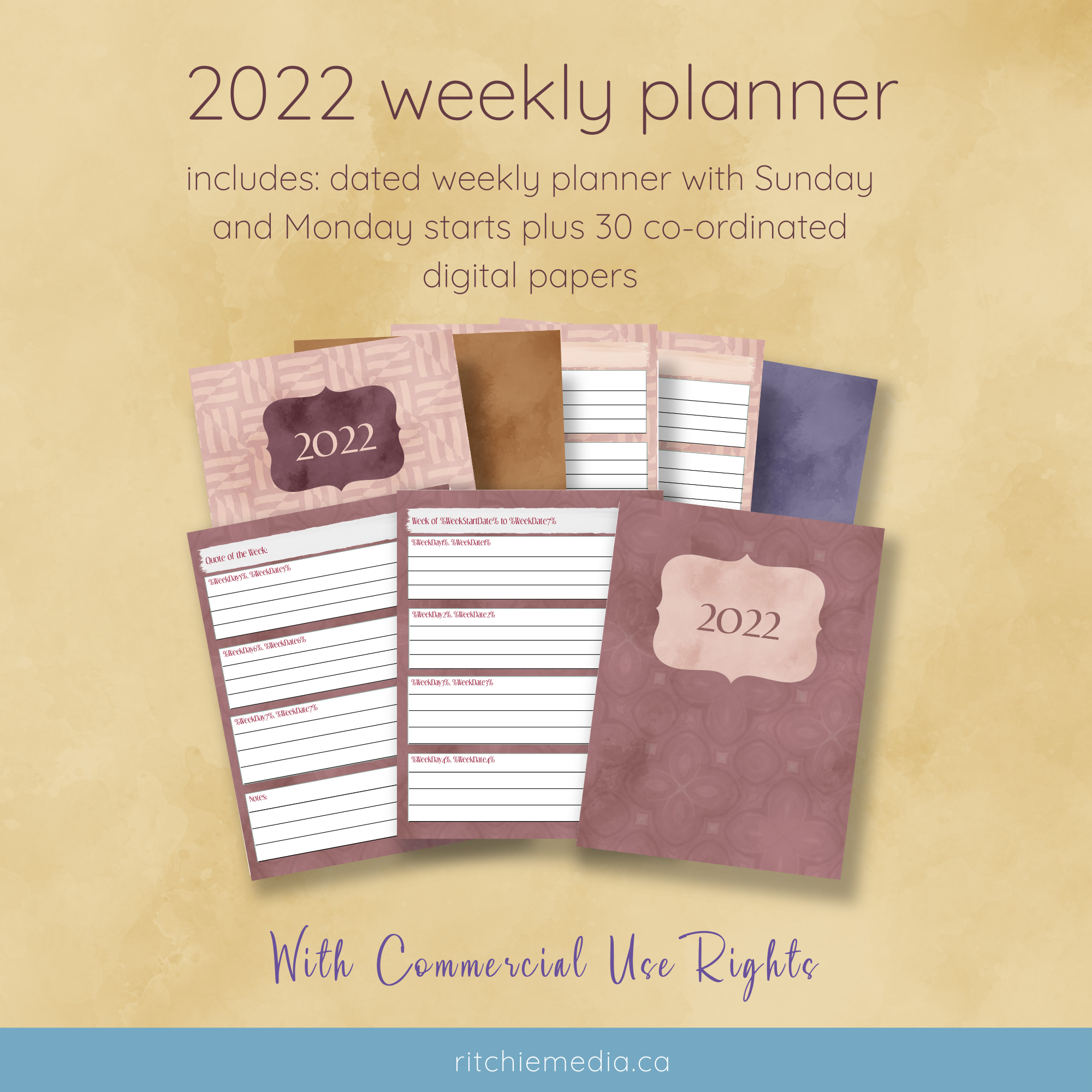 weekly planner with papers mockup