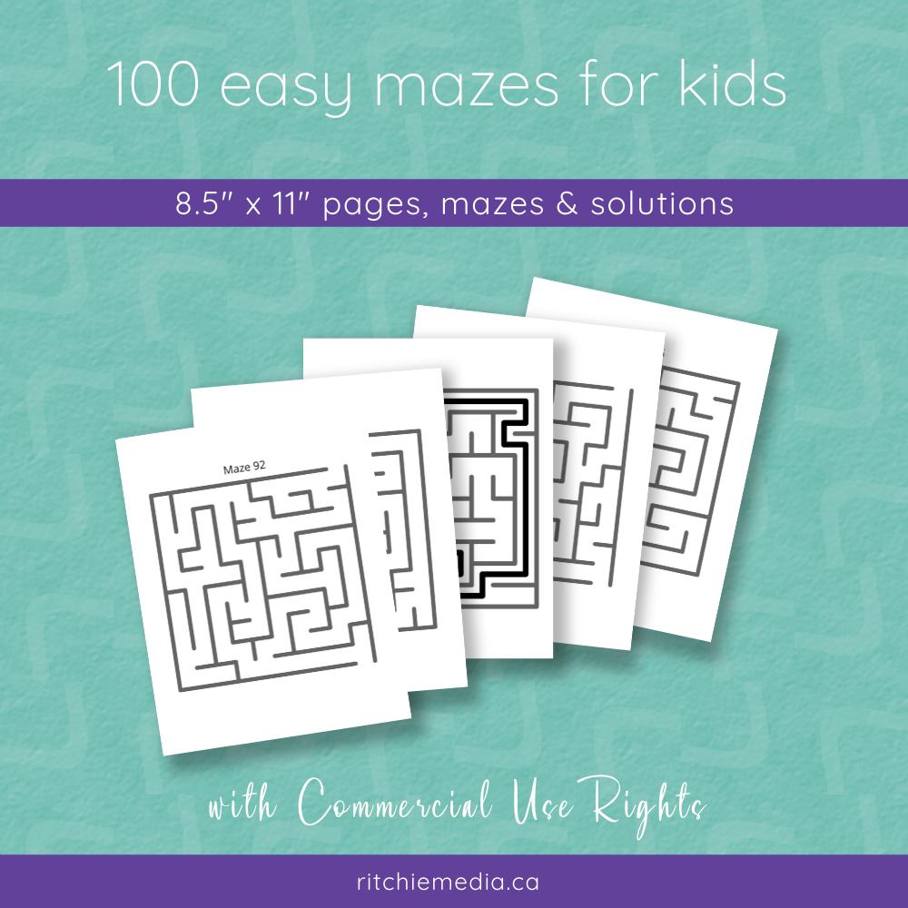 100 easy mazes for kids