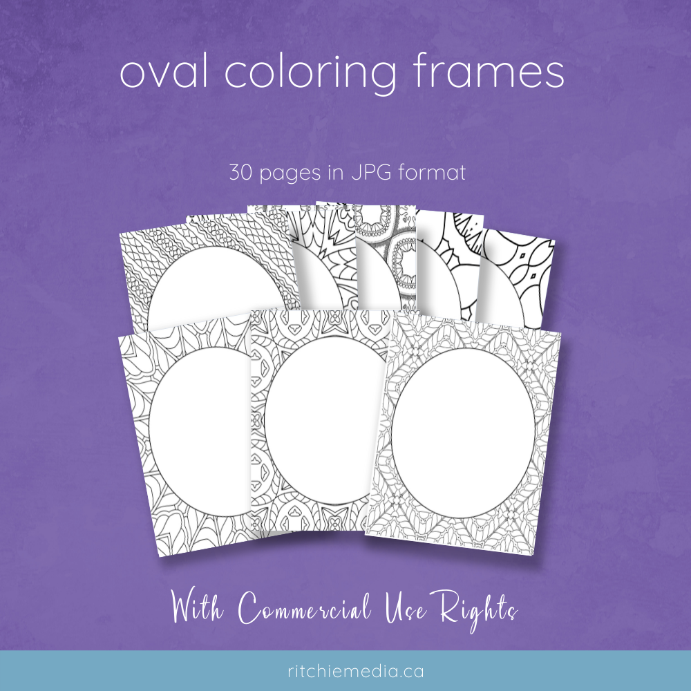 30 oval coloring frames